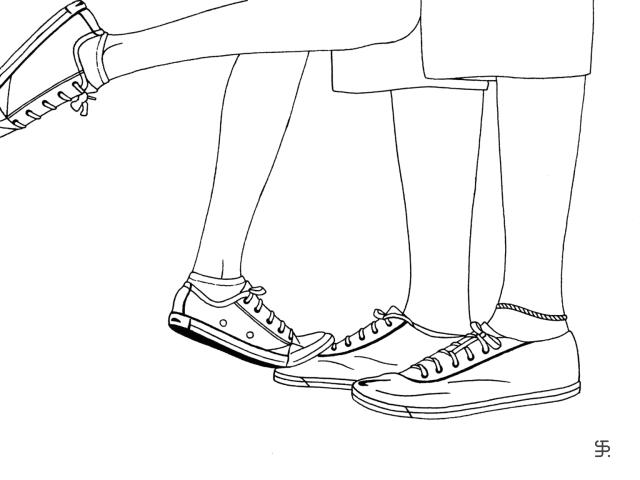 Foot on foot